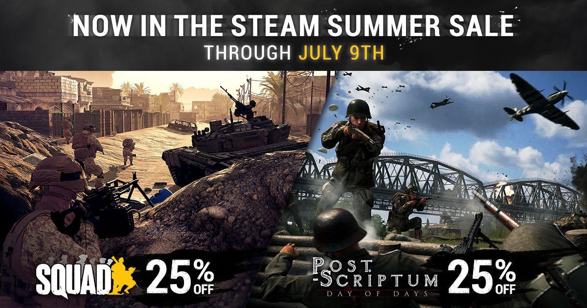 СКИДКА 25% на Squad & Post Scriptum в летней распродаже Steam